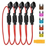QLOUNI 5pcs In-line Fuse Holder with Cap 16AWG 6pcs ATC Blade Fuse Assortment (3A 5A 7.5A 10A 15A 20A) and Fuse Puller