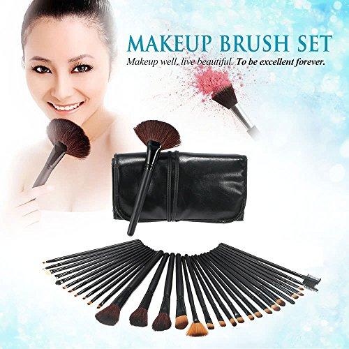 Lot de 32 pinceaux de maquillage professionnels essentiels pour maquillage - Noir - Pinceau pour fard à paupières - Pinceau à sourcils + cuir B