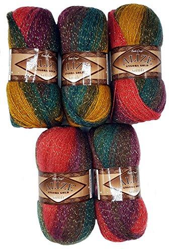 5 x 100 g Alize Glitzerwolle Farbverlauf beere rot oliv grün ocker Nr. 3368 mit Glitzer, 500 Gramm Metallic - Wolle mit Mohair