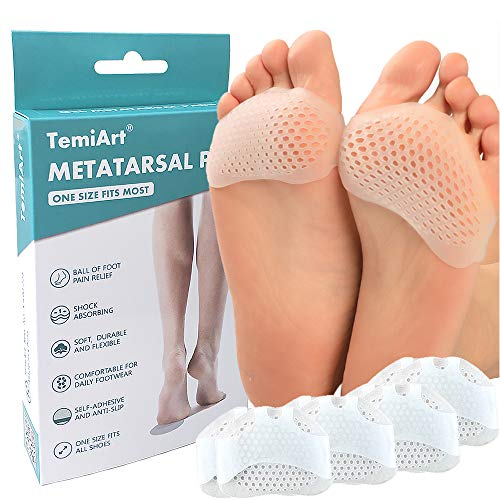 Temiart Metatarsal Pads Ball of Foot Cushions for Women Men Foot Pain Relief, Soft Gel Ball of Foot Pad Fits Heels Shoe Inserts Reduces Mortons Neuroma(4 Pair)
