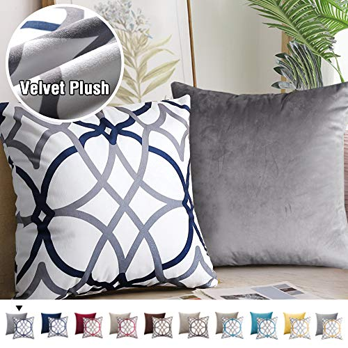 H.VERSAILTEX Original Velvet Cushion Covers 18x18 Mix and Match (Set of 2) Decorative Throw Pillow Covers for Living Room/Sofa/Couch Bed (Grey/Grey&Navy)