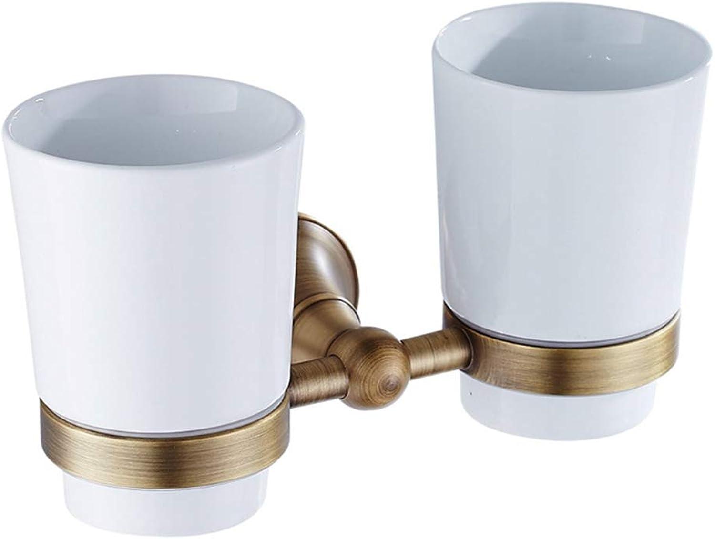 LUDSUY Antique Bronze Bathroom Accessories Retro Pendant Copper Double Tumbler Holder Ceramic cupBathroom Accessories