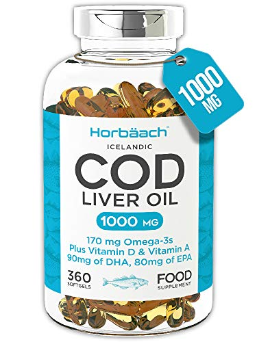 Cod Liver Oil 1000mg | 360 Softgel Capsules | for Heart, Brain & Eye Health | High Strength Omega 3, EPA & DHA + Vitamin A & D | Non-GMO, Gluten Free Tablets | by Horbaach