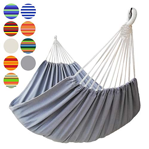GOCAN Brazilian Double Hammock 2 Person Extra Large Canvas 87'x 63' Total Length 130' Load 500lb Cotton Hammock for Patio Porch Garden Backyard Lounging Outdoor and Indoor(Grey) XXL