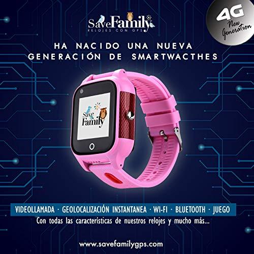 SaveFamily 4G-Smartwatch mit Videoanruf und sofortigem GPS für Kinder. WLAN, Bluetooth, Anruf-ID, SOS-Taste, wasserdicht IP67. Propia SaveFamily App Rosa