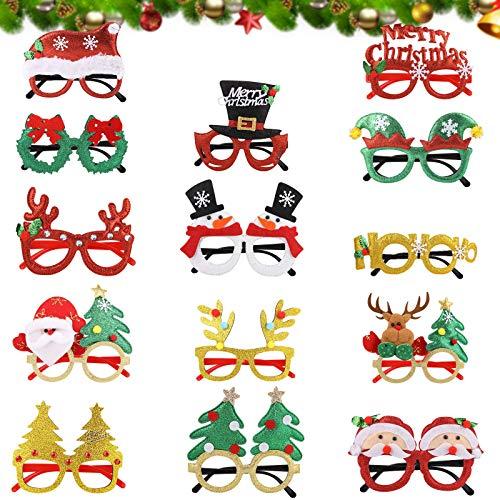 14PCS ¡Feliz Navidad Gafas, Daiweier Accesorios Para Fotos De Navidad, Decorativas Navideñas Disfraz Accesorio Fiesta Navideña Para Niños y Adultos Decoraciones