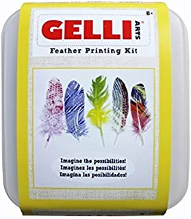 Gelli Arts Feather Printing All in One DIY Craft Set with Gel Printing Plate, Premium Acrylic Paint, Roller, Paper, Feathers, Design Elements, Storage Container- One of a Kind Artwork, Easy Clean Up