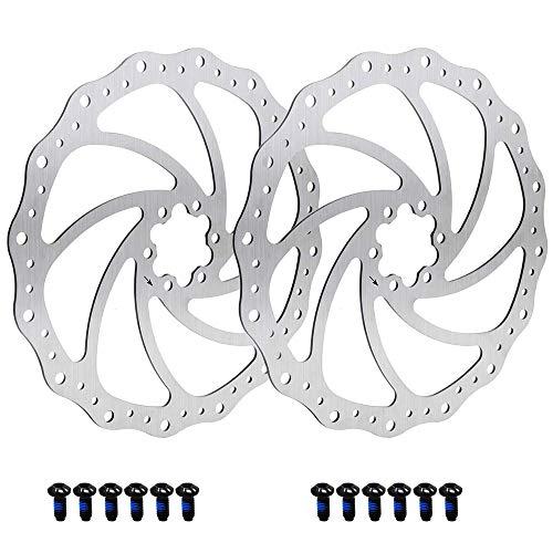 Mirrwin Bremsscheibe Fahrrad Bremsscheibe 160mm Scheibenbremsen Fahrrad Set Racing Fahrrad Bremsscheibe Fahrradscheibenbremse für die Meisten Fahrradstraßen-Mountainbikes 2 Stück mit 12 Schrauben