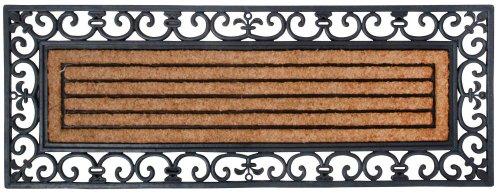Esschert Design deurmat, zwart van rubber, met kokosinzetstuk, rechthoekig, extra breed, ca. 120 cm x 45 cm