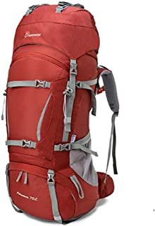 Outdoor Mountaineering Bag Shoulders Men and Women 60L70L Camping Hiking Backpack Ultra Light Large Capacity JKMQA (Color : Red, Size : 85cm×30cm×35cm)