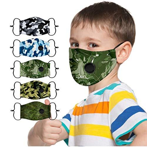 Skang 5 Stück Kinder Mundschutz mit Atemventil Multifunktionstuch Tarnmuster Druck Tuch Masken Halstuch Atmungsaktive Stoffmaske Waschbar Mund und Nasenschutz Bandana Jungen Mädchen