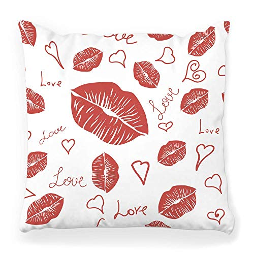 Fendy-Shop Soft Square Pillow Cover 20x20 Pattern Lipstick White Lip Abstract Wrapping Affair Beauty Color Cosmetic Day Desire Home