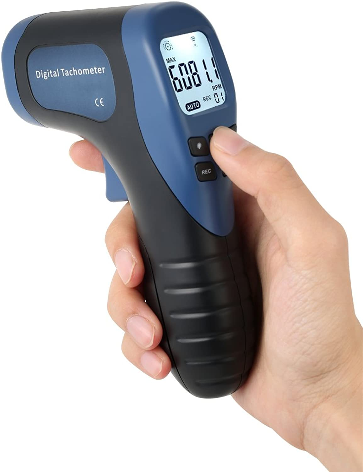 AMZVASO  Handheld Digital Photo Tachometer LCD RPM Meter Laser NonContact Tach Range 2.599999RPM Motor Speed Meter +1pc Reflective Tape