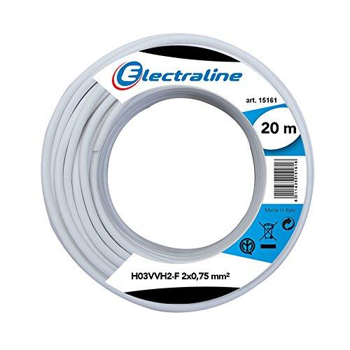Electraline 10904, Cable para Extensiones H03VVH2-F, Sección 2x0,75 mm, 20 m, Blanco