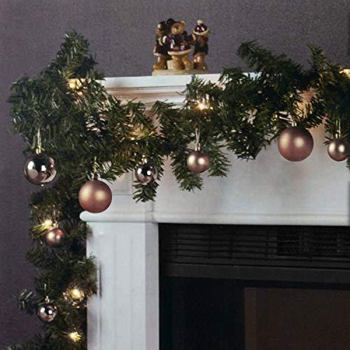 Wohaga Weihnachtsgirlande Tannengirlande Lichterkette 270cm 180 Spitzen 20 Lampen 16 Kugeln Champagner