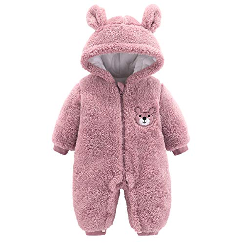 Yixius Mameluco con capucha para bebé de forro polar con cremallera de dibujos animados mono de otoño invierno abrigo trajes para niñas de 0 a 12 m