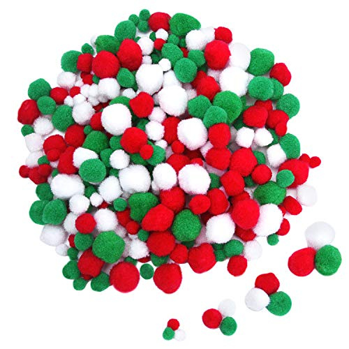 Red, Green, and White Pom-poms