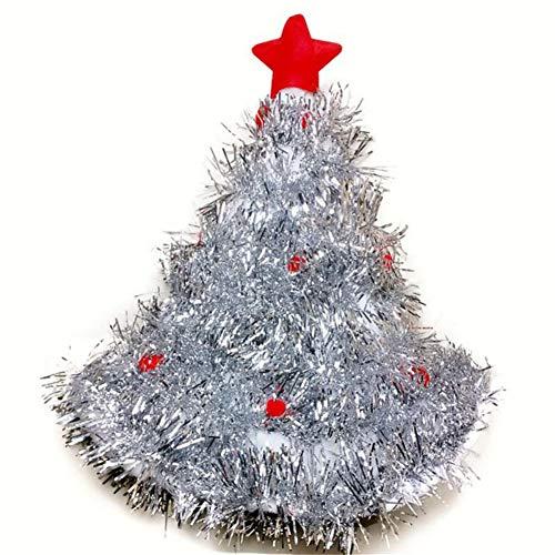 Wealthgirl Weihnachtsmützen rot Silber grün Baum mit Stern weihnachtsmützen für Erwachsene und Kinder Weihnachten dekor neujahrsgeschenke Home Party Geschenk (Silver)