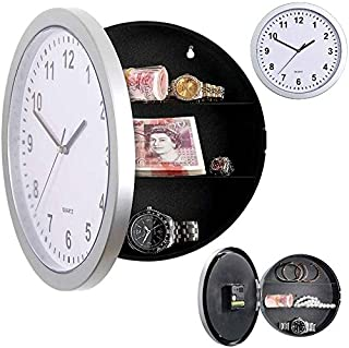 Rubik Wall Clock with Secret Safe Compartment, 10 Inch Round Clock Large Black Figures for Home, Kitchen Decorations