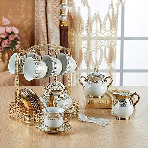 YANAN-dian Teteras/Café Juego de té Conjunto de té de la Tarde Inglesa Conjunto de café Europeo Conjunto de café Marco de Metal Dorado para Oficina doméstica (Color: B, Tamaño: Un tamaño) Teter