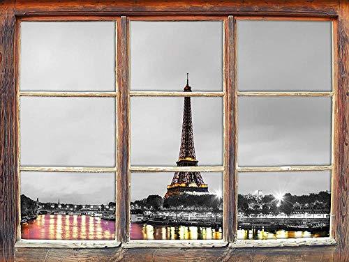KAIASH 3D Pegatinas de Pared Muebles Impresionante Torre Eiffel en París Ventana en Blanco y Negro 3D Etiqueta de la Pared decoración de la Pared 3D Etiqueta de la Pared calcomanía de Pared 62x42cm