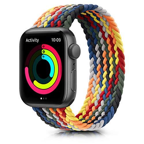 Meliya Cinturino Intrecciato Compatible con Apple Watch 38mm 40mm 42mm 44mm, Sportiva Nylon Ricambio Elastica Cinturino Compatible per iWatch Series 6/5/4/3/2/1/SE (42/44mm M, Arcobaleno)