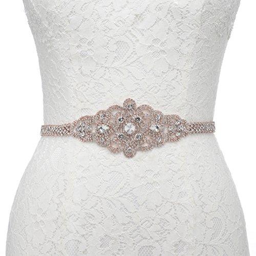 SWEETV Funkelnde Strass Kristall Braut Schärpe Gürtel für Hochzeit Festzug Kleid zusätzlich mit...