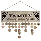 YuQi [Gifts for Mom] Family Birthday Calendar Wall Hanging,Wooden Birthday Reminder Plaque Sign Family DIY Calendar Hanging Board Personalized Gifts for Mom
