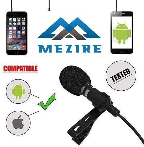 Mezire® 3.5mm Clip Microphone for YouTube, Collar Mike for Voice Recording, Lapel Mic Mobile, Pc, Laptop, Android Smartphones, DSLR Camera with Hard Carrying Case(CM29,Black)#Quality Assurance