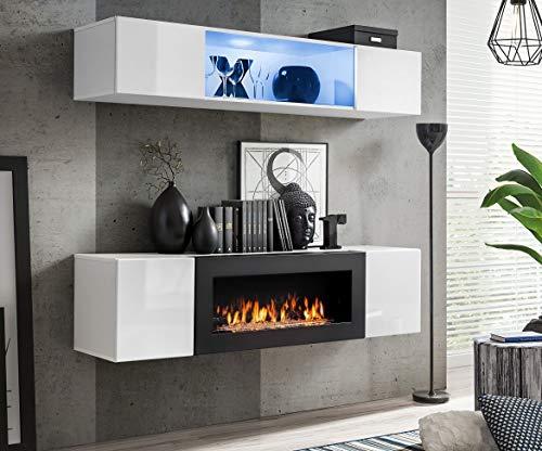 Wohnwand Morgan 3 mit Bio Kamin Anbauwand Weiß Schwarz Weiß+Schwarz Schwarz+Weiß (Weiß)