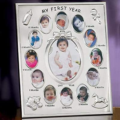 Silver Relaxdays Nursery Picture Frame for 13 29 x 24 cm Display Collage 29 x 24 x 0.85 cm Month Aluminium Photo Calendar