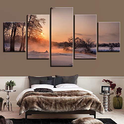 LIICC Decoratief schilderij voor inkjetprinters, HD 5 stuks, mist, bos, wandschilderij, rek en frame, muur, huis, keuken, decoratie