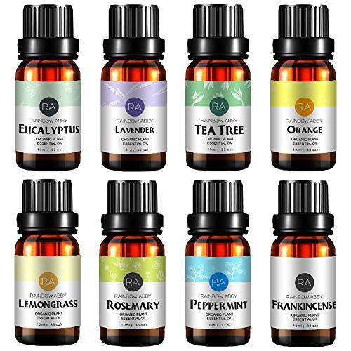 Top 8 Aromatherapie Öl 100 Rein, Beste Therapeutische Klasse Öl - 8X10 ML - (Lavendel, Teebaum, Eukalyptus, Zitronengras, SüßEn Orangen, Pfefferminze, Weihrauch, Rosmarin)