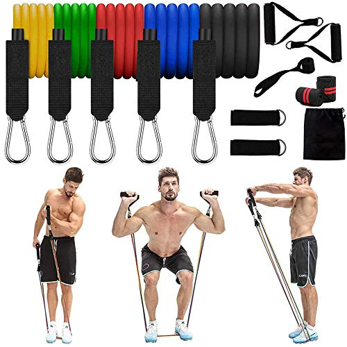 Resistance Bands 13pcs Set 5 Stackable Exercise Bands with Handle for Resistance Training up to 150 lb, Physical Therapy, Home Workouts, Yoga,Pilates,Exercise Chart (13 PCS)