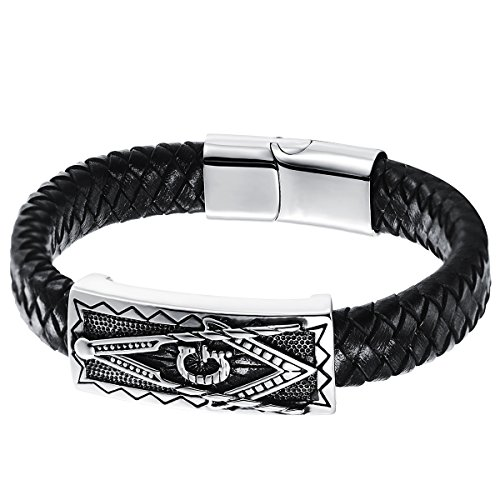 JewelryWe Schmuck Herren Armband, Retro Freimaurer Armreif, Leder Edelstahl, Magnet Verschluss, Schwarz Silber