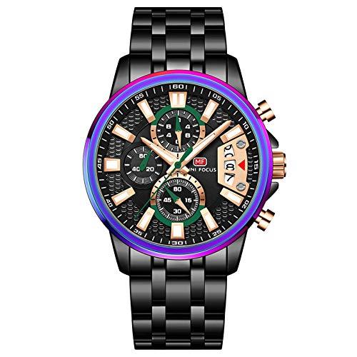 JTTM Reloj De Cuarzo para Hombre Manos Luminosas Multifunción Impermeable Analógico Calendario Correa En Acero Inoxidable Negocio Relojes,Negro