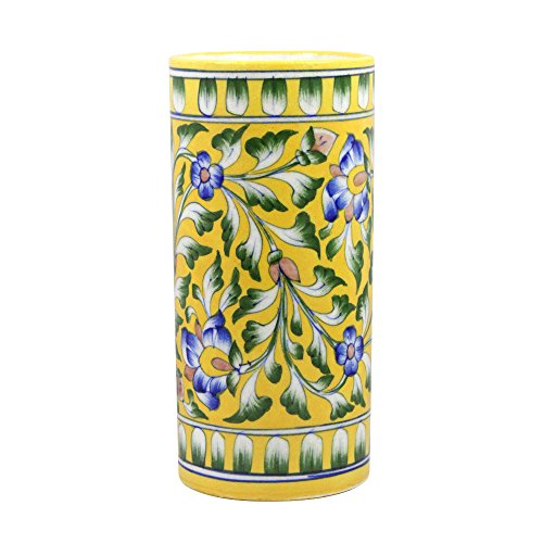 India Meets India Handicraft Ceramic Flower Vase, eco Friendly Cylindrical Shaped Pot Decorative Home, Offices, Best Gifting, Made by Awarded Indian Artisan