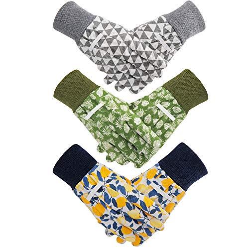 Hortem Gartenhandschuhe für Damen, 3 Paar, Größe Medium, rutschfeste Griffigkeit, für Garten, Reinigung, Angeln, mit weichen PVC-Punkten