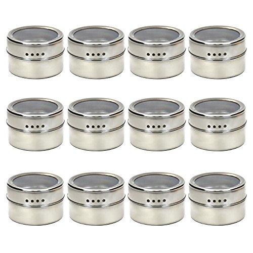 Lot de 12 boîtes à épices magnétiques multi-usages, couvercle supérieur transparent avec tamis ou verseur, aimantées sur réfrigérateur et grill.