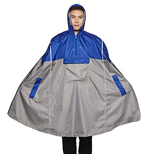 Icegrey Adulte Pluie de Poncho Unisexe Vêtements Imperméables Urgence avec Assortis Pouch Long Réfléchissant Rayures Bleu