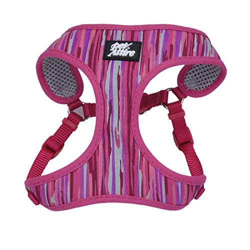 Coastal - Ribbon - Designer Wrap Adjustable Dog Harness, Pink Flamingo Stripe, 3/8