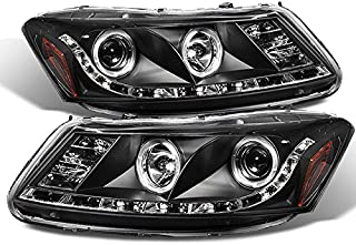 For Honda Accord Black Bezel Dual Halo Ring DRL LED Strip Projector Headlights Front Lamps Replacement