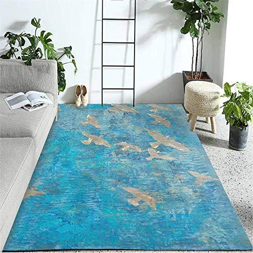 Kunsen Alfombra habitacion Cuadro Decoracion habitacion Alfombra Rectangular Azul habitación Infantil decoración de la Sala de Estar Suave Cuadro Decoracion Salon 180X280CM 5ft 10.9' X9ft 2.2'