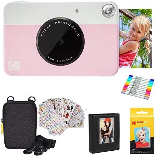 KODAK Printomatic Instant Camera (roze) geschenkbundel + Zink Papier (20 vellen) + Deluxe Case + 7 leuke stickersets…