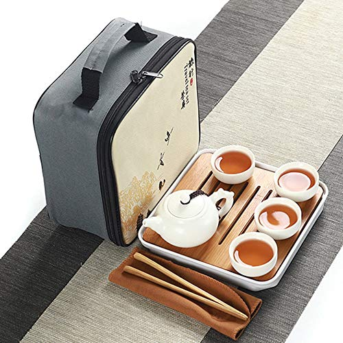 Minp 番茶器セット 急須 湯呑セット マルチ ティーセット 茶具セット 茶器 茶皿 茶器乾燥ティートレー 旅行ティーセットーカップシンプルな和風 陶器 ティーポット 中国茶器 茶器揃