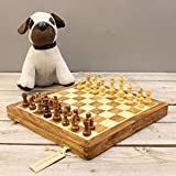 Arkavati 30cm Wooden Chess Set Magnetic Board Folding Storage 30cm