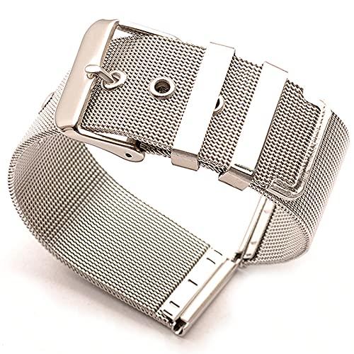 BINGHC Correa de Malla de Acero Inoxidable 18 mm 20 mm 22 mm 24 mm Plateado C K Reloj Ultrathin Banda para la Correa de Reloj Delgada General (Color : Silver, Size : 20mm)