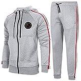 Aotorr Survêtement Homme Ensemble Sweat-Shirt à Capuche et Pantalon de Sport Jogging Gris Claire 2XL