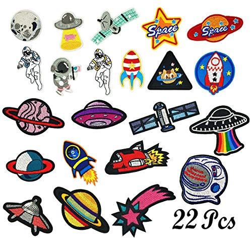 22 Pz Patch Sticker, Woohome Parche Termoadhesivo, Planetas Sistema Solar Astronauta Espacio Parche de Hierro en Patches paraMochila, Gorras, Ropa