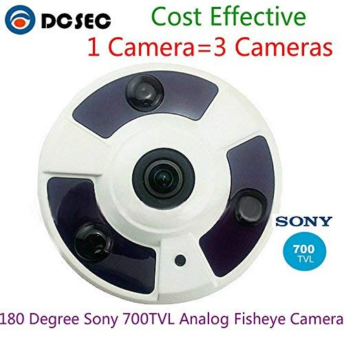 Yuany Telecamera,Telecamera, Sony 700TVL Telecamera Dome per sorveglianza Interna a 180 Gradi fisheye analogica panoramica con Array di 3 Pezzi LED IR 30 Distanza IR